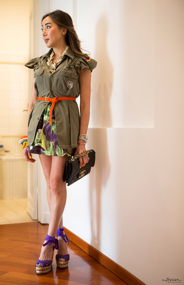 06-yuriAhn-theStylistme-choosing-looks-for-milanfashionweek-feminine-twist-military-chic