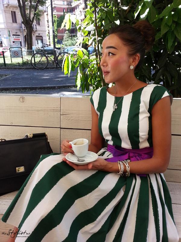 07_yuriAhn_theStylistme_wearing_dolce_and_gabbana_Sicilian_folk_SS13_stripe
